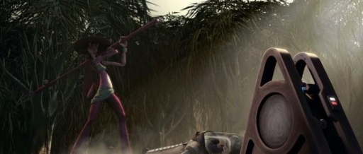 L'éleveuse Peppi Bow s'apprête à frapper le Docteur Nuvo Vindi avec son Electropole.