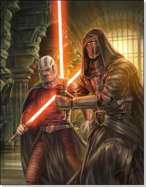 Revan et Malak, armés de leurs sabres Sith