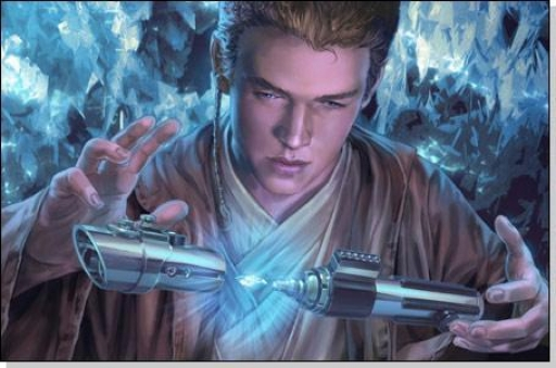 Anakin Skywalker terminant la construction de son sabre