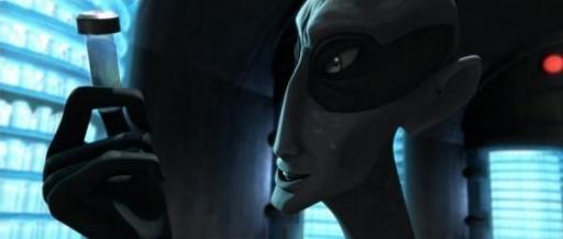 Le docteur Nuvo Vindi et une fiole du Virus Blue Shadow.