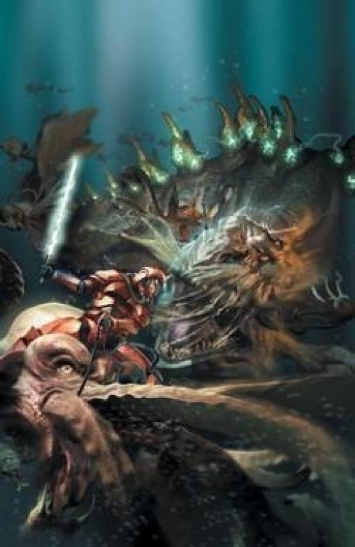 Treis Sinde face à un Léviathan des Mers.