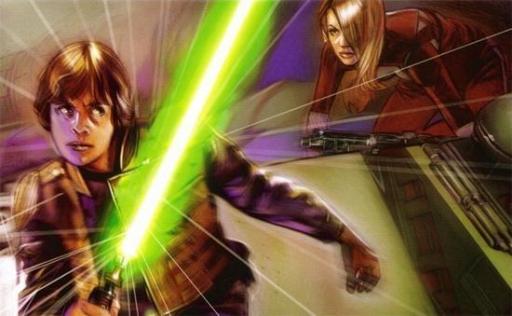 Luke Skywalker combat Guri en utilisant la célérité