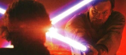 Obi-Wan Kenobi utilisant une défense par domination sur Mustafar