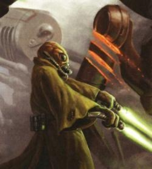 Un Jedi Gand effectuant une attaque jumelle