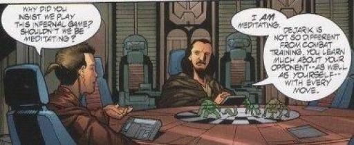 Kenobi et son maître Jinn jouent au Dejarik
