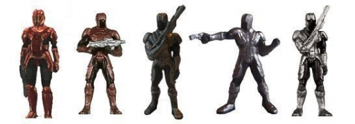 De gauche à droite : Commando Sith, Sith Trooper d'Elite, Garde Sith, Opérateur Sith, Capitaine Sith