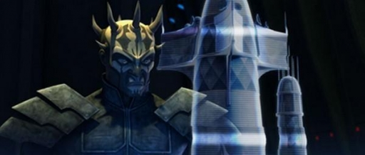 Le Frère de la Nuit Savage Opress face à une représentation holographique du Temple Eedit.