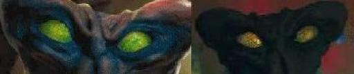 (De gauche à droite) Des yeux normaux, des yeux d'Arcona drogué