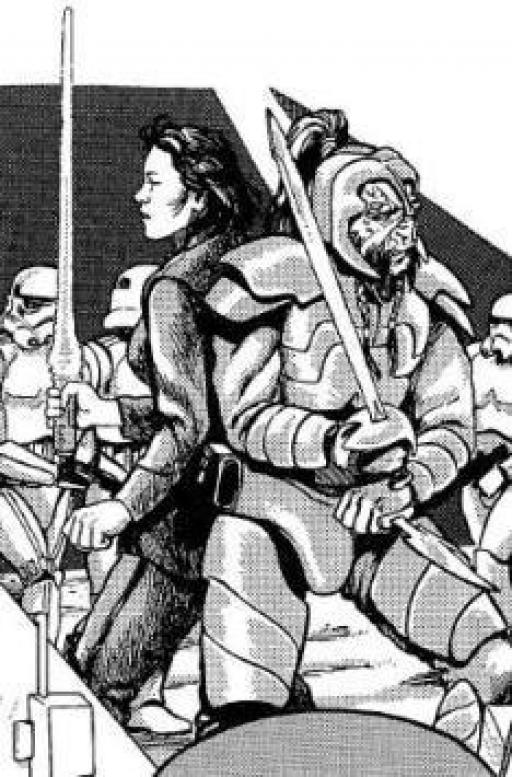 Une Jedi et un Coynite combattent des Stormtroopers