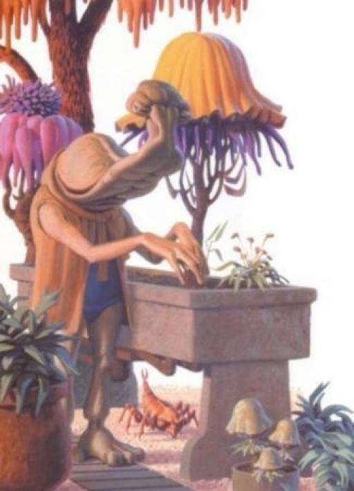 Momaw Nadon s'occupant de son jardin, sur Tatooine