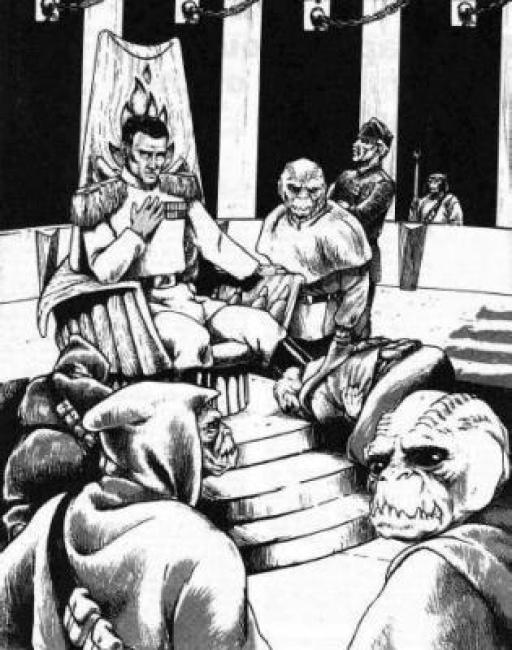 Thrawn entouré de ses Noghri sur Honoghr.