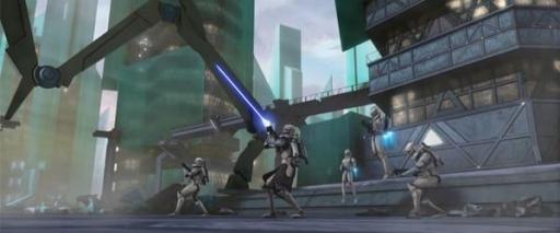 Le Capitaine Rex et ses hommes contre un Tri-droïde.