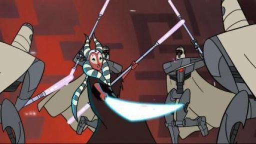 Shaak Ti se bat contre les MagnaGuard de Grievous