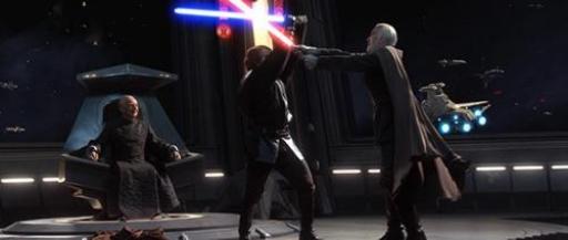 Skywalker s'apprête à vaincre Dooku sur le pont de l'Invisible Hand