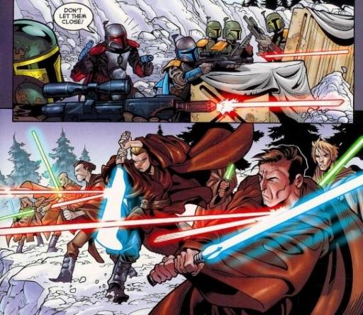 Jango Fett et ses Mandaloriens faisant face aux Jedi menés par Dooku.
