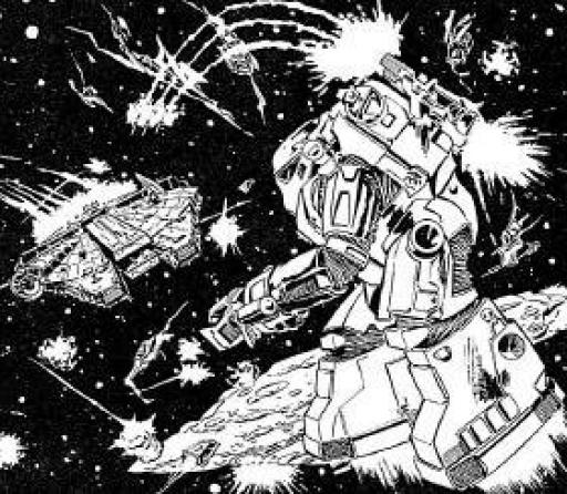 Un Spacetrooper fait feu sur le Faucon Millenium