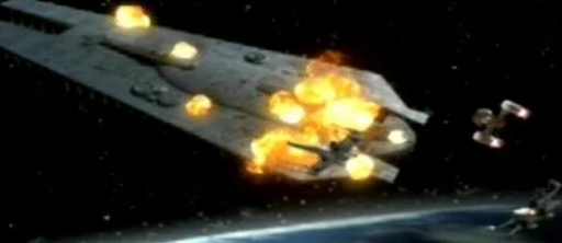 Le Doomgiver explosant en orbite de Yavin IV.