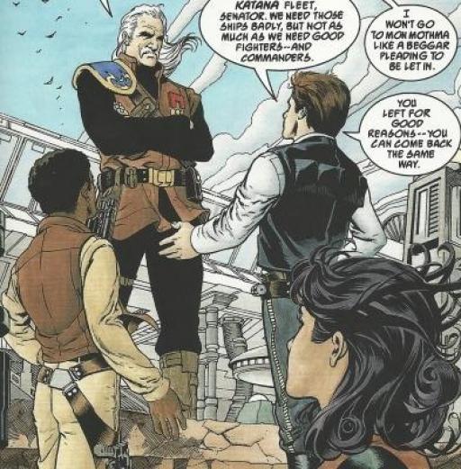 Solo apprend à Bel Iblis qu'ils sont au courant pour la Flotte Katana