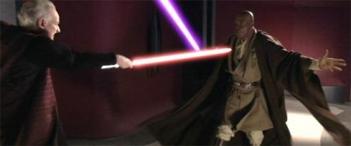 Palpatine affronte le Maitre Jedi Mace Windu en duel