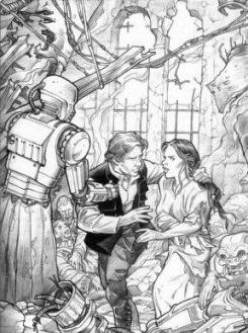 Han Solo et son épouse, Leia, dans les décombres du Sénat sur Coruscant