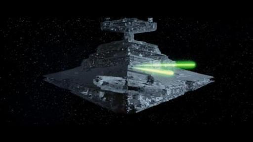 Le Faucon Millenium poursuivit par un Star Destroyer et ses TIE