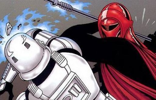 Un Garde Impérial fait montre de sa supériorité à un Stormtrooper