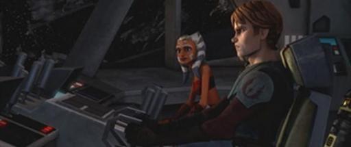 Skywalker, Tano et R3-S6 aux commandes du Twilight.
