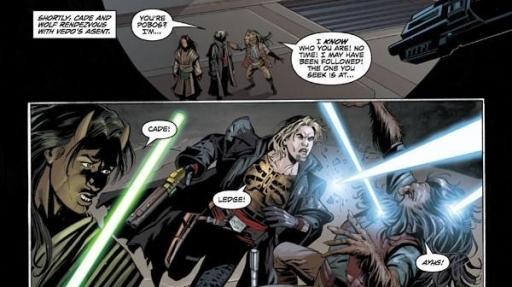 Rencontre mouvementée entre le Bothan Pobos, Wolf Sazen et Cade Skywalker.