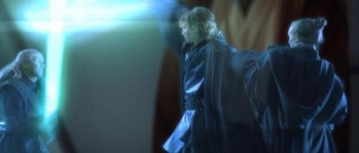 Darth Vader affronte Cin Drallig tout en étranglant Bene.