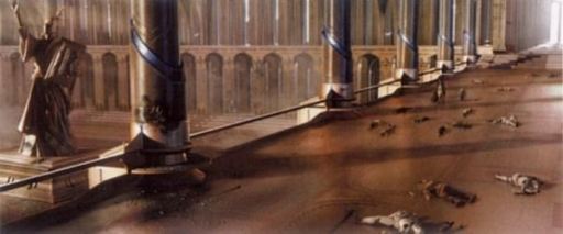 Les cadavres de clones et de Jedi jonchent la Chambre des Milles Fontaines.