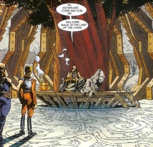 Luke, escorté par Mara Jade, rencontre Talon Karrde