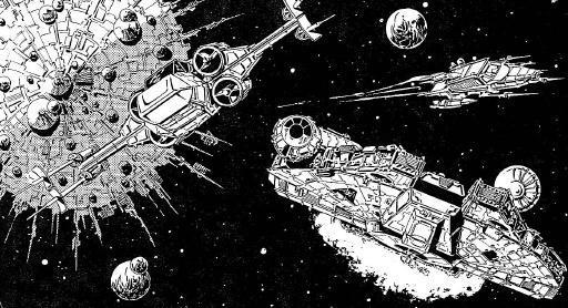 Les vaisseaux des héros quittent Nkllon