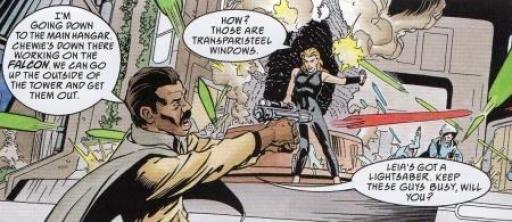 Lando et Mara tente de repousser les agents impériaux