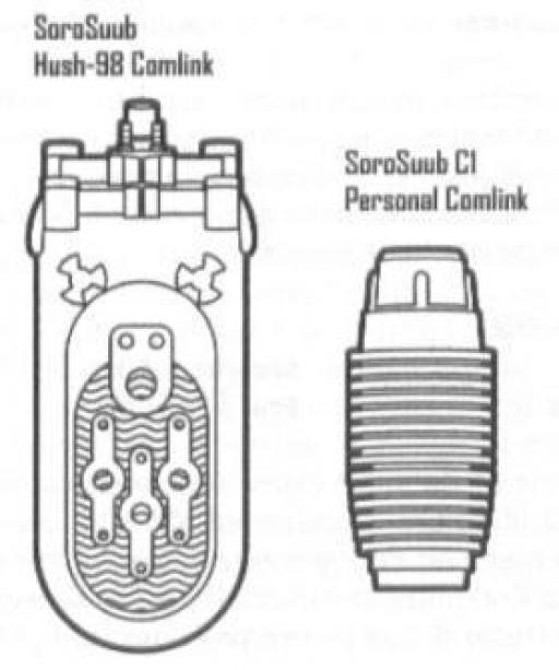 Deux modèles de comlink produits par SoroSuub