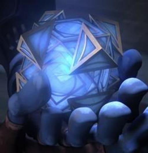 Le Cristal Kyber inséré dans l'Holocron.