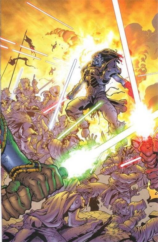 L'Armée de la Lumière affrontant les forces de la Confrérie des Ténèbres lors de la Sixième Bataille de Ruusan