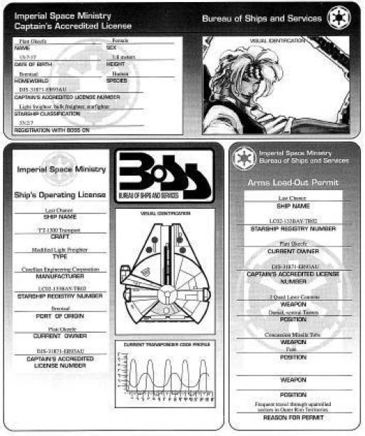 Exemple de licence de pilote et d'opération de vaisseau délivrée par le BoSS : celui de Platt Okeefe