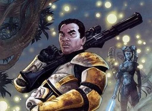 Le Commandant ARC Bly du 327ème Corps d'Armée Stellaire avec le Maître Jedi Aayla Secura.