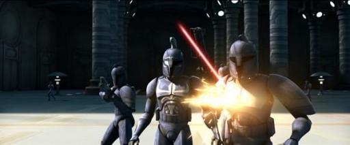 Des Commandos du Sénat en faction sur l'aire d'atterrissage est du Sénat Galactique.