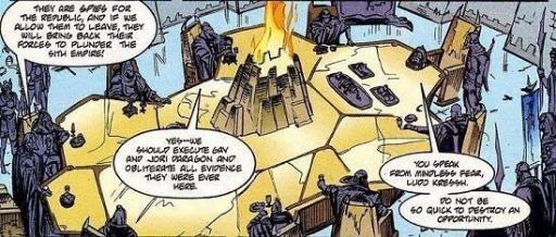 Le Conseil Sith discute de l'arrivée de Gav et Jori Daragon