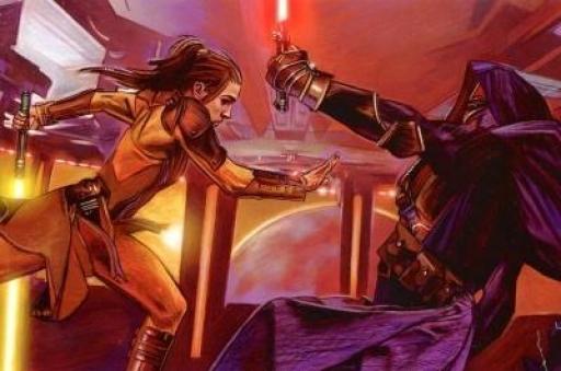 Bastila Shan contre Revan sur le pont de son vaisseau-amiral
