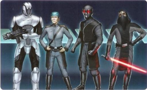 De gauche à droite: Soldat Sith, Officier Sith, Assassin Sith, Apprenti Sith