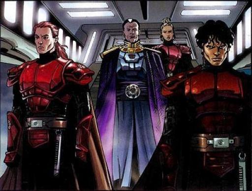 L'Empereur Roan Fel, entouré de ses Imperial Knights à son arrivée sur Bastion