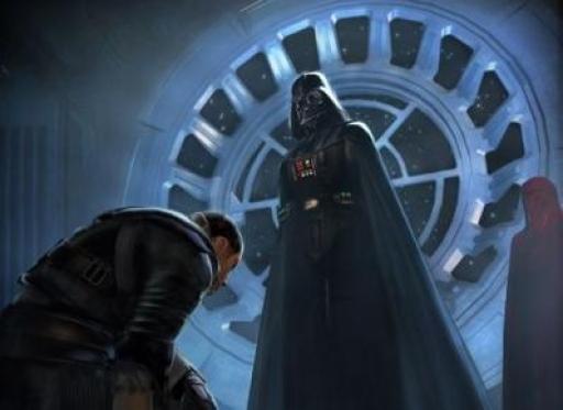 Un Garde Impérial dans l'ombre de Vader alors qu'il reçoit son Apprenti Secret
