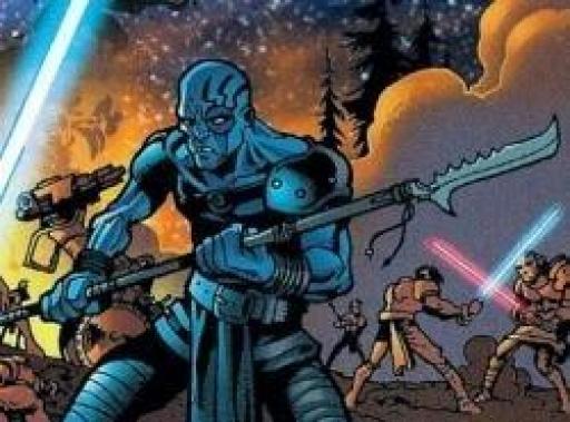 Un soldat Sith au milieu d'un champ de bataille de Ruusan