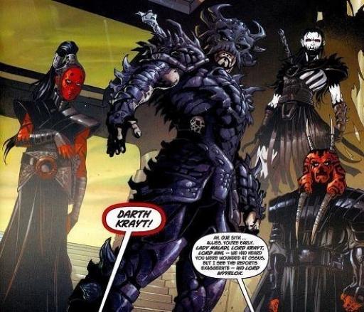 Darth Krayt, entouré de ses principaux lieutenants.