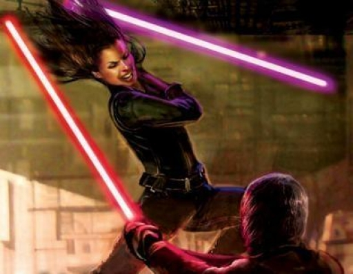 Jaina Solo, Sabre des Jedi, affronte le Sith Darth Caedus