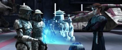 Un commandant et un lieutenant de la Force de Reconnaissance Avancée face à Anakin Skywalker.