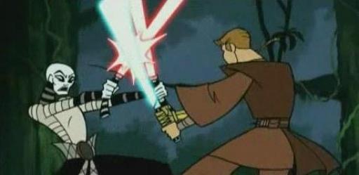 Asajj trouve en Anakin Skywalker un incroyable rival alors qu'ils s'affrontent dans les jungles de Yavin IV.