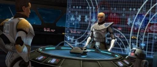 Le Commandant Cody et le Capitaine Rex dans le centre de commandement.